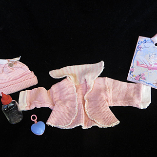 """Vintage American Character Tiny Tears Sweater, knit cap, bottle & rattle for your 11.5"""" Doll"""