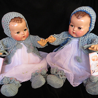 """Vintage Effanbee Dy-Dee Doll Lou """" Twin"""" or """"Sister's"""" Blue Sweater, Bonnet & matching booties Set  for your 20"""" Doll"""