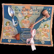 Vintage Effanbee Dy-Dee Doll Bottle, spoon & Wooden Pipe on Card