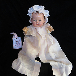 """Vintage Effanbee Dy-Dee Doll Jane"""" SILK """"Light Peach Christening gown for your 15"""" Doll and bonnet"""