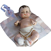 """Vintage Effanbee""""RARE Patsy Baby Kin Composition Doll  10""""with Original dress, Baby Kin Bracelet,With Blemish under her check"""