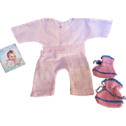 """Vintage Effanbee Dy-Dee Doll Jane pajamas & knit Booties for 15"""" Doll"""