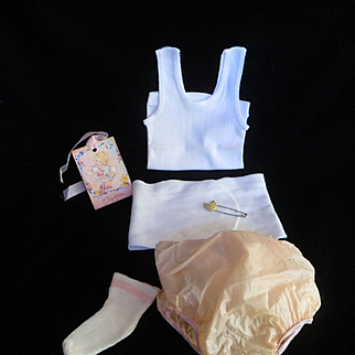 """Vintage Effanbee Dy-Dee Doll Lou Layette - Undershirt, rubber pants, belly band & Pink strip rayon socks for your 20"""" Doll"""