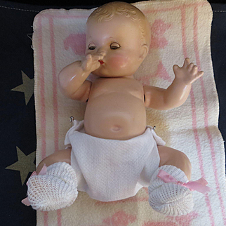 """Vintage """"MINT"""" Effanbee Patsy Baby Kin Composition Doll 10"""" with Gold Heart Baby Kin bracelet"""