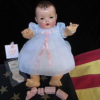 """Vintage """"MINT"""" Effanbee  Dy-Dee Doll Lou Blue Organdy Dress, slip & socks for your 20"""" Doll"""