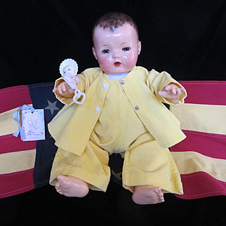 "Vintage "" VERY RARE"" Effanbee Dy-Dee Doll Lou Corduroy Romper Summer Set for your 20"" Doll- ""It's A Girl or It's a Boy""- Factory made"