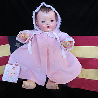 "Vintage ""MINT"" Effanbee Dy-Dee Doll Lou Pink Corduroy Summer Coat & Matching Bonnet for your 20"" Doll- Factory Made"
