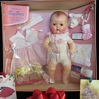 "Vintage ""MINT"" 1950's American Character Tiny Tears Doll 15"" in Pretty Box  with all her Accessories- Rubber Body-CHRISTMAS In August"