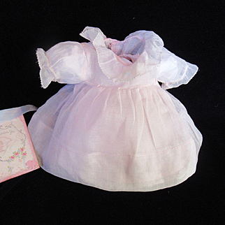 "Vintage Effanbee Dy-Dee Doll Pink Organdy Three button Dress & Slip for your 11"" Doll- there is a Mommy Mend under one sleeve- This Dress is in the Effanbee Book"