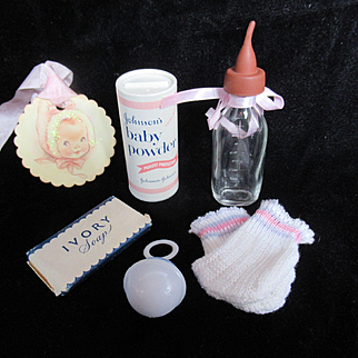 "Vintage American Character Tiny Tears Doll Bottle with soft tip, ""MINT"" Booties, Powder & rattle & Soap for your 11""-13"" Doll"