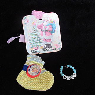 "Vintage Effanbee Dy-Dee Doll or Tiny Tears Bracelet &""RARE ""MINT"" Yellow Booties for your 11"" Doll"