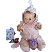 "Vintage 'GORGEOUS"" Effanbee Dy-Dee Doll Jane pink Snow Suit & Bonnet for your 15"" Doll & Christmas Stocking"