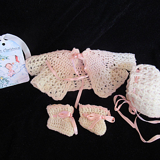 "Vintage Effanbee Dy-Dee Doll Sweater Set for your 11"" Doll- Sweater matching Booties & Bonnet"