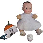 "Vintage Effanbee Dy-Dee Doll Organdy Dress & Slip, Socks  & cupcake for your 15"" Doll"