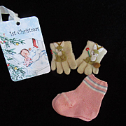 """Vintage Effanbee Dy-Dee doll Mittens & socks for your 15"""" Doll"""