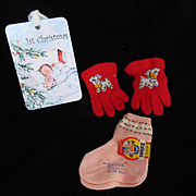 """Vintage Effanbee Dy-Dee Doll Mittens & sock for your 20"""" Doll- Puppy Mittens"""