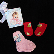 """Vintage Effanbee  dy-Dee Doll Christmas Mittens for your 15"""" Doll & socks"""