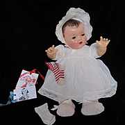 """Vintage""""RARE"""" Effanbee Dy-Dee Doll Lou Dotted Swiss Dress Bonnet, Slip & Rayon socks for your 20"""" Doll- CHRISTMAS White"""