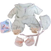"""Vintage Effanbee Dy-Dee Doll Eiderdown Blue """"RARE Snow Suit & Bonnet for your 11"""" Doll & Bunny Mittens & Knit booties"""