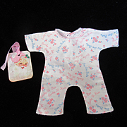 """Vintage Effanbee Dy-Dee Doll Signature Pajamas for your 11"""" Doll- TINY  Yellow mark back bottom leg"""