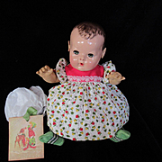 """Vintage Effanbee Dy-Dee Doll Christmas Strawberry Dress for your 15"""" Doll , Rubber pants & Dolsox"""