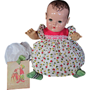 "Vintage Effanbee Dy-Dee Doll Christmas Strawberry Dress for your 15"" Doll , Rubber pants & Dolsox"