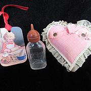 Vintage Effanbee Dy-Dee Doll Bottle with tip, & Heart Pink ruffle Bottle Holder