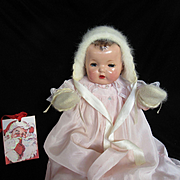 """Vintage Effanbee Dy-Dee Doll Lou GORGEOUS Angora Bonnet & Mittens for your 20"""" Doll"""