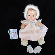 """Vintage Effanbee Dy-Dee Doll """"RARE"""" Angora Bonnet, Booties & Mittens for your 15"""" Doll"""