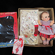 """Vintage""""MINT"""" 1950's Ideal Betsy Wetsy Doll 11"""" with Vinyl Body and Layette in her Display Box-"""" RARE Brown eyes""""-Original Tag- Never Been played With"""