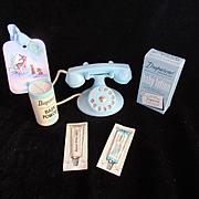 "Vintage Effanbee ""RARE ""Diaparene Set- Ointment, Powder,lotion & Blue phone"