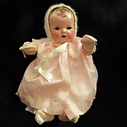 GOREGOUS Vintage Effanbee Dy-Dee Doll Lou Bonnet with Pearls & Silk Mittens