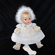 """Vintage""""MINT"""" Effanbee Dy-Dee Doll Jane Angora Bonnet, Mittens & Rayon socks for your 15"""" Doll"""