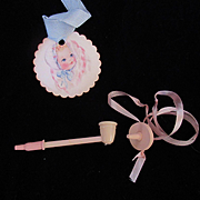 """Vintage """"MINT"""" American Character  Tiny Tears Doll Rubber Pacifier & Bubble pipe with rubber Tip"""