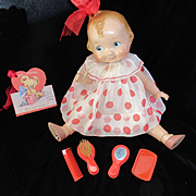 """Vintage """"MINT"""" Effanbee Dy-Dee Doll celluloid Valentine RED Vanity Set"""