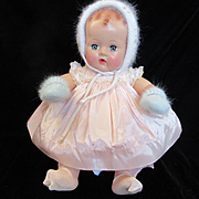 "Vintage""MINT""  Effanbee Dy-Dee Doll Lou Blue Mittens & Bonnet with Leaf's"