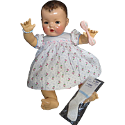 """Vintage Effanbee Dy-Dee Doll """"RARE"""" I Love you Dress for your 20"""" Doll and Baby Bracelet, rubber pants, socks and celluloid rattle"""