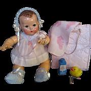"Vintage Effanbee Dy-Dee Doll ""MINT"" Diaper Bag with ""MINT"" Esmond Blanket,ZBT Baby powder, rubber duck & plakie rattle"