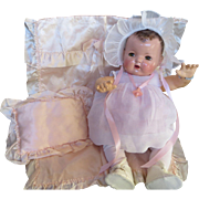 """Vintage Effanbee Dy-Dee Doll Pink Satin Blanket Set for your 20""""  Doll"""