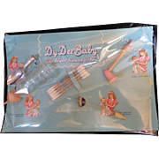 Vintage Effanbee Dy-Dee Doll Card with Bottle, Bubble Pipe, spoon, Q-tips & sipping Straw