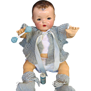 """Vintage Effanbee Dy-Dee Doll Sweater, Silk Booties, Powder, Celluloid Rattle your 20"""" Doll"""
