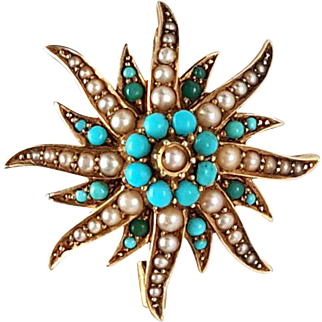 Beautiful Victorian 15K Gold, Turquoise, and Seed Pearl Starburst Brooch / Pendant