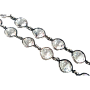 Stunning Art Deco Sterling Silver Rock Crystal Necklace