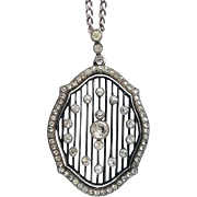 Edwardian Sterling Silver Diamond Paste Pendant Necklace