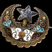 Victorian Persian Enamel Crescent Moon & Star Brooch