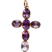 Gorgeous Victorian 9K Gold & Amethyst Cross Pendant