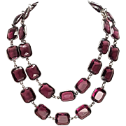 Long Heavy Art Deco Amethyst Crystal Paste Sterling Silver Bezel Set Necklace
