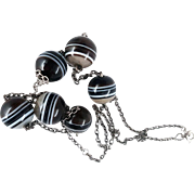 Long Victorian Sterling Silver Scottish Agate Bead Necklace