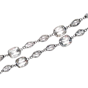 Unusual Geometric Art Deco Sterling Silver Rock Crystal Necklace