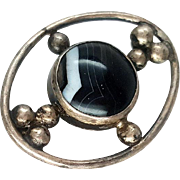Arts and Crafts Sterling Silver Banded Agate Brooch